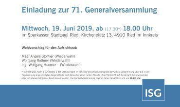 Einladung zur 71. Generalversammlung